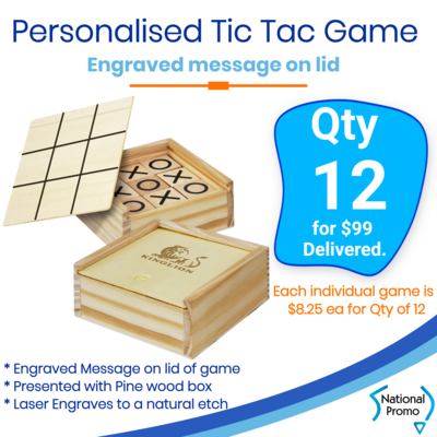 12x Engraved TIC TAC TOE game