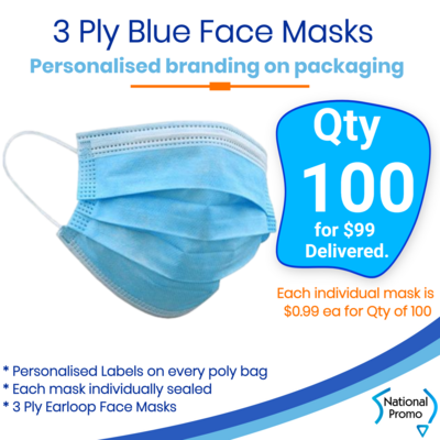 100 x BLUE FACE MASKS Branded in Individual Bags
