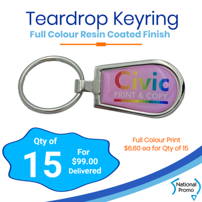 15x Teardrop Keyrings