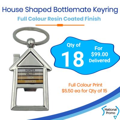 18x House Shaped Bottle Opener Keyring