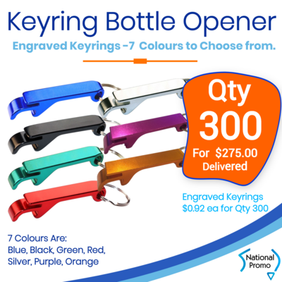 300x Keyring Engraved Bottle Openers