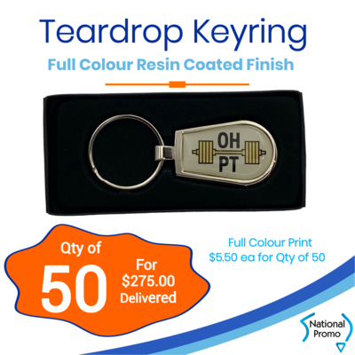 50x Teardrop Keyrings
