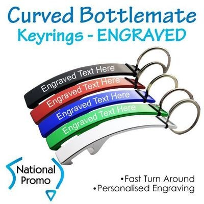Curved Bottlemate Metal Bottle Opener Keyring