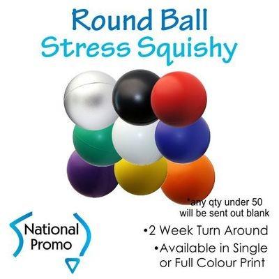 Single Colour Print Round Ball Stress Squishy