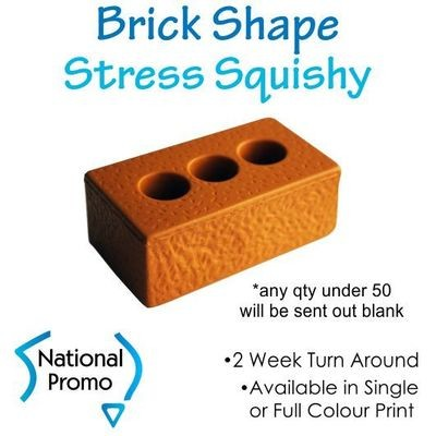 Single Colour Print Builders Brick Stress Squishy