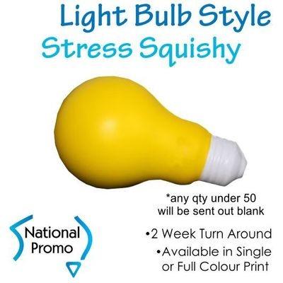 Single Colour Print Light Bulb Stress Squishy