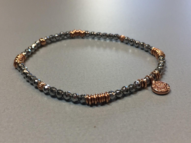 Elastisches Armband Hematit Silbercharms rose vergoldet und Anhänger