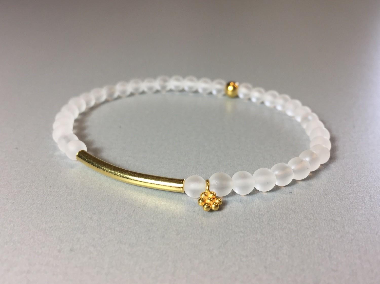 Armband Bergkristall mit Steg und Blümchen Silber vergoldet