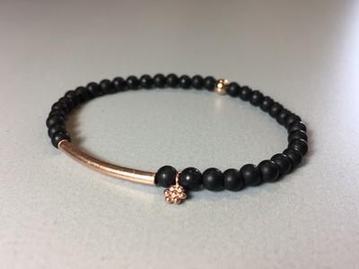 Armband Onyx mit Steg und Blümchen Silber rose vergoldet