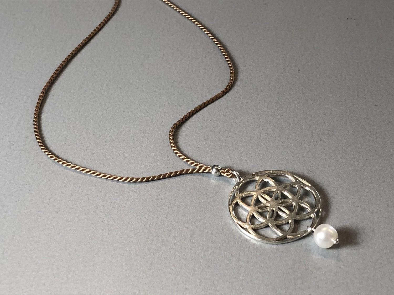 Seidenkette Samen des Lebens Silber