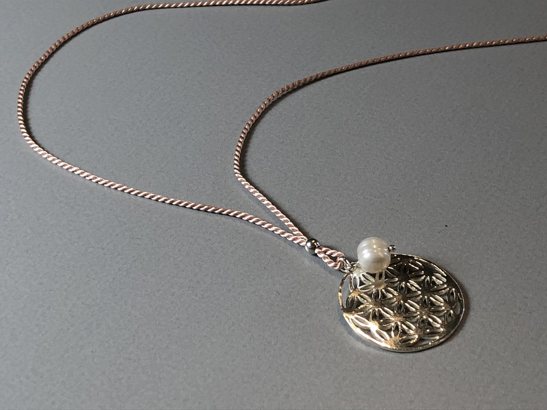 Seidenkette Blume des Lebens Silber