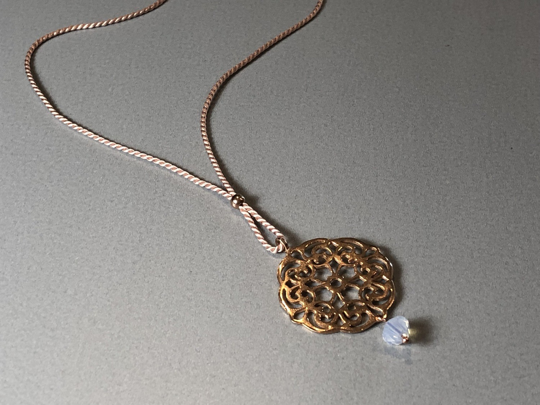 Seidenkette mit Mandala Silber rose vergoldet
