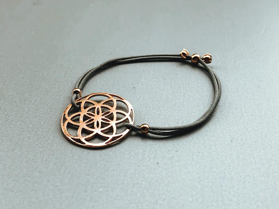 Elastisches Armband mit Samen des Lebens Silber rose vergoldet