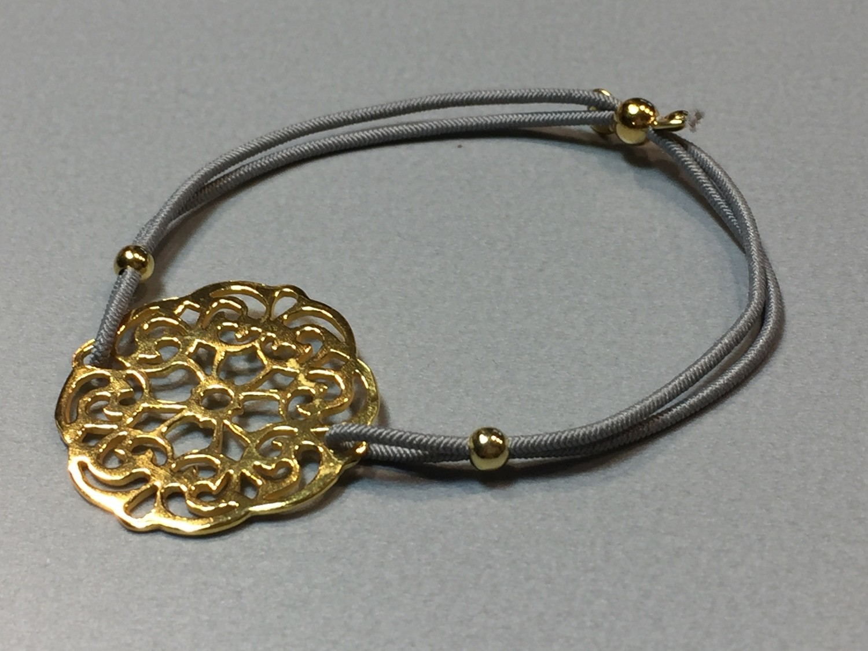 Elastisches Armband mit Mandala Silber vergoldet