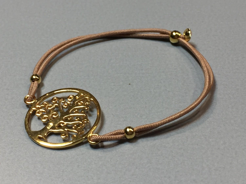Elastisches Armband mit Lebensbaum Silber vergoldet