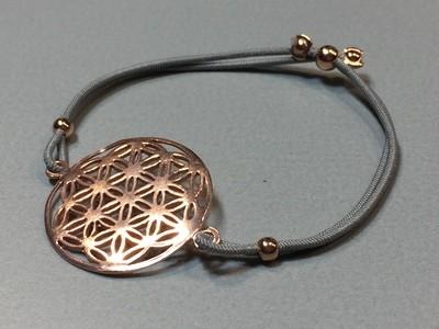 Elastisches Armband mit Lebensblume Silber rose vergoldet