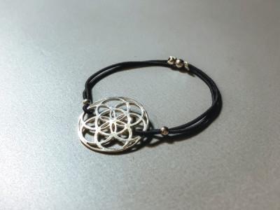 Elastisches Armband mit Samen des Lebens Silber