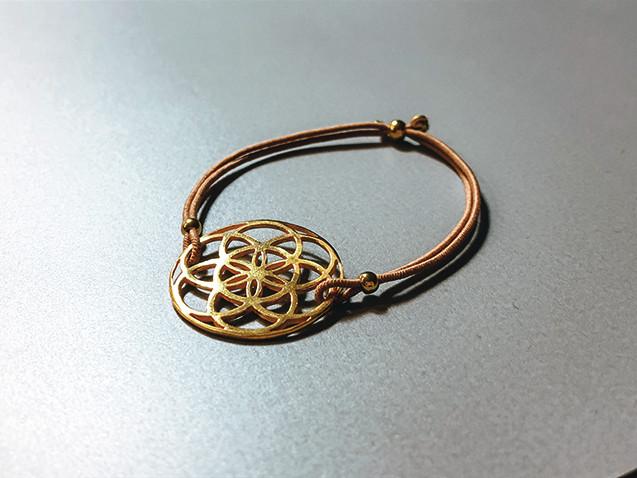 Elastisches Armband mit Samen des Lebens Silber vergoldet