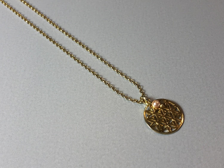 Kurze Halskette mit Lebensblume Silber vergoldet