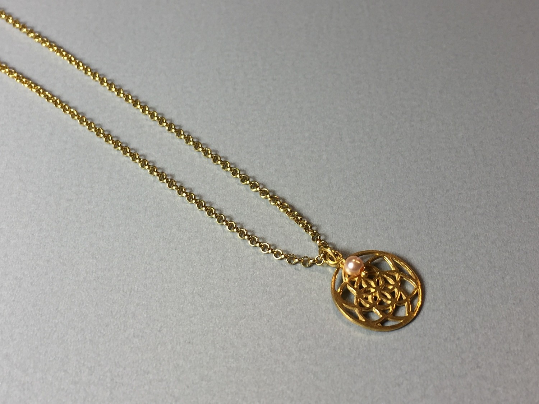 Kurze Halskette mit Lebenskreise Silber vergoldet