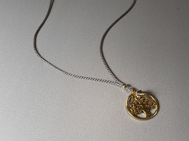 Seidenkette mit Lebensbaum Silber vergoldet