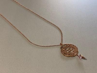Lange Silberkette rose vergoldet mit Mandala