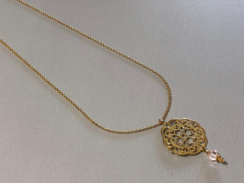 Lange Silberkette vergoldet mit Mandala