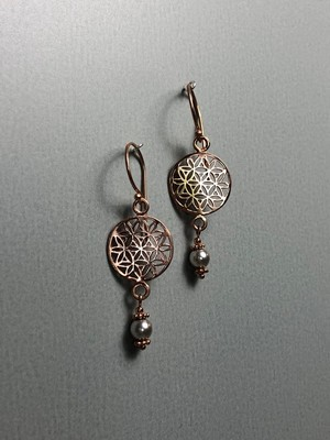 Ohrhänger Lebensblume Silber rose vergoldet mit Swarovskiperlen