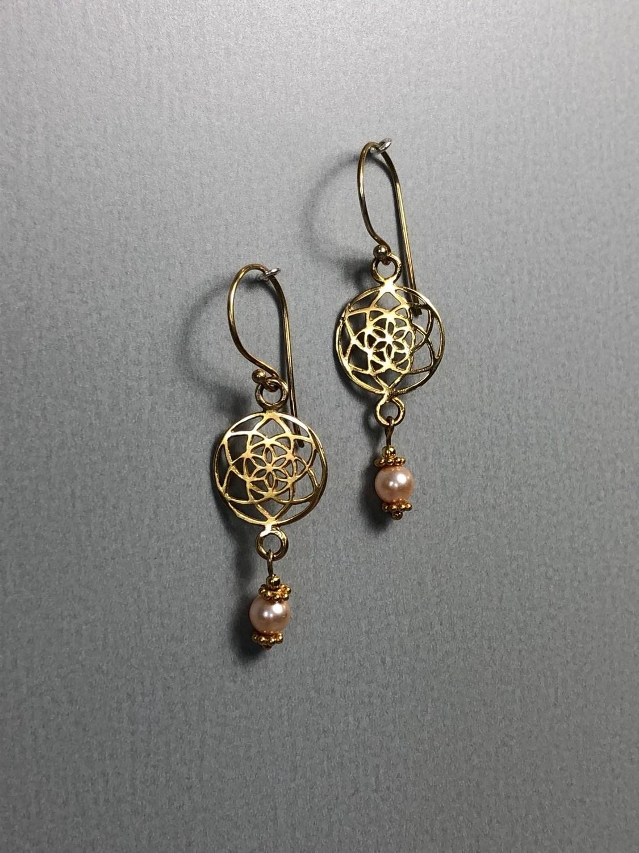 Ohrhänger Lebenskreise Silber vergoldet mit Swarovskiperlen