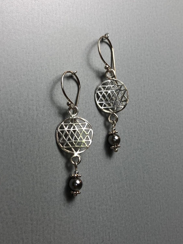 Ohrhänger Lebensblume Silber mit Swarovskiperlen