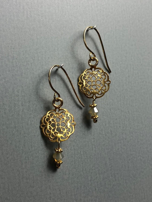 Ohrhänger kleines Mandala Silber vergoldet mit Swarowski