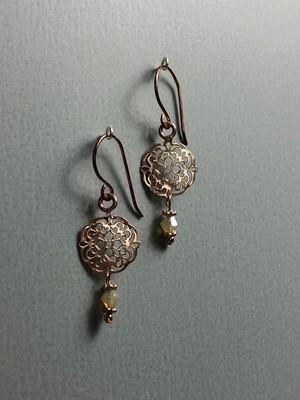 Ohrhänger kleines Mandala Silber rose vergoldet mit Swarowski