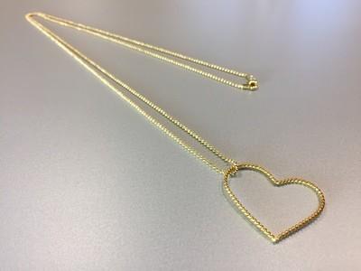 Lange Kugelkette mit Herzanhänger Silber vergoldet