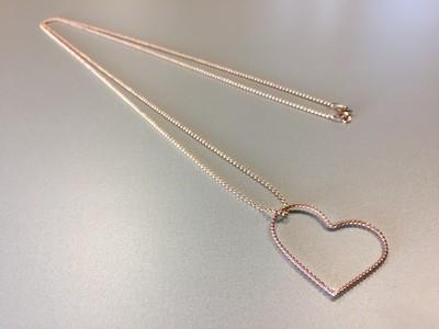 Lange Kugelkette mit Herzanhänger Silber rose vergoldet