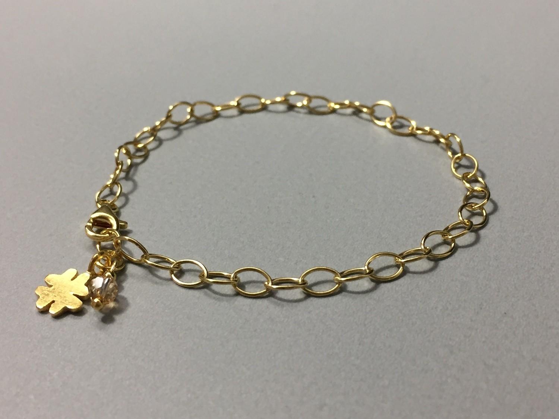 Gliederarmband mit Kleeblatt Silber vergoldet
