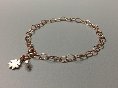 Gliederarmband mit Kleeblatt Silber rose vergoldet