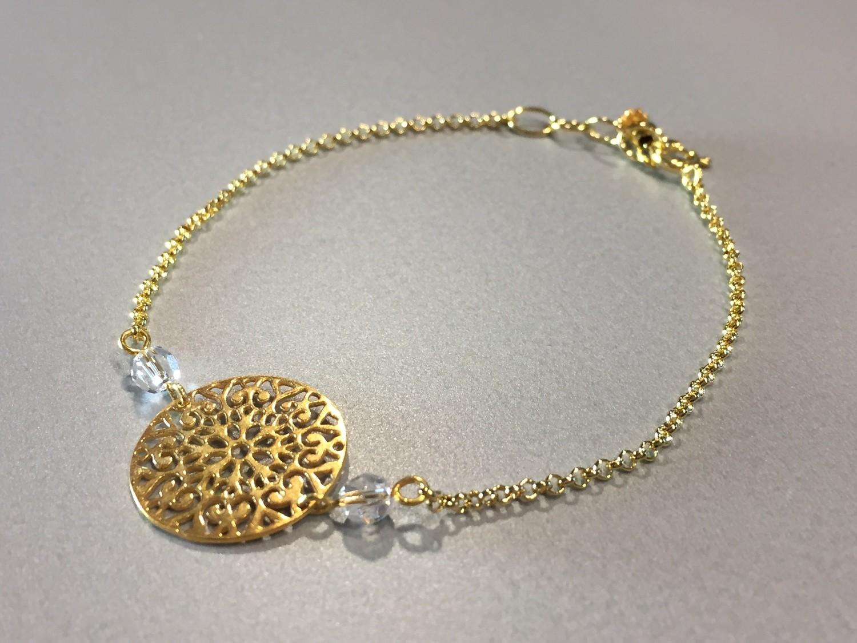 Zartes Silberarmband vergoldet mit Ornament und Swarovskis