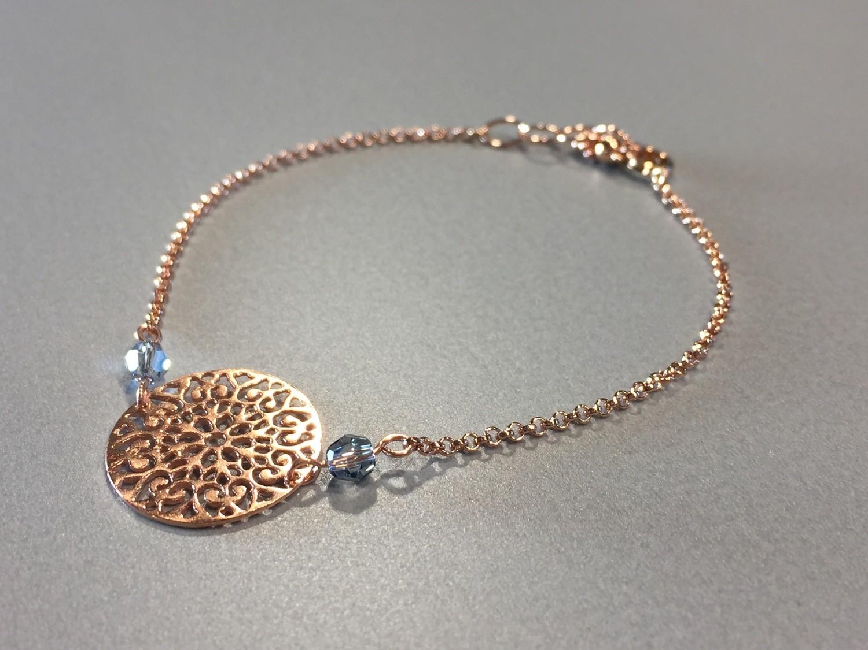 Zartes Silberarmband rose vergoldet mit Ornament und Swarovskis