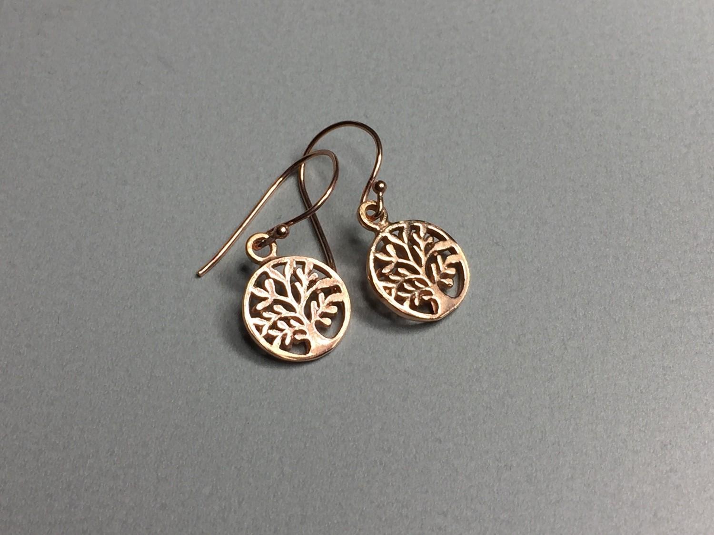 Ohrhänger Lebensbaum Silber rose vergoldet