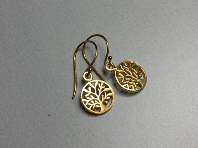 Ohrhänger Lebensbaum Silber vergoldet