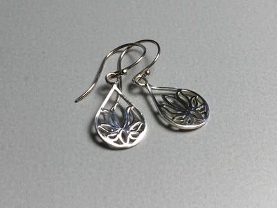 Ohrhänger Lotustropfen Silber