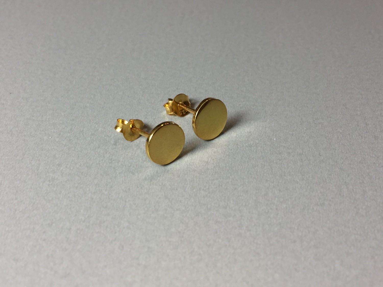 Ohrstecker Plättchen Silber vergoldet