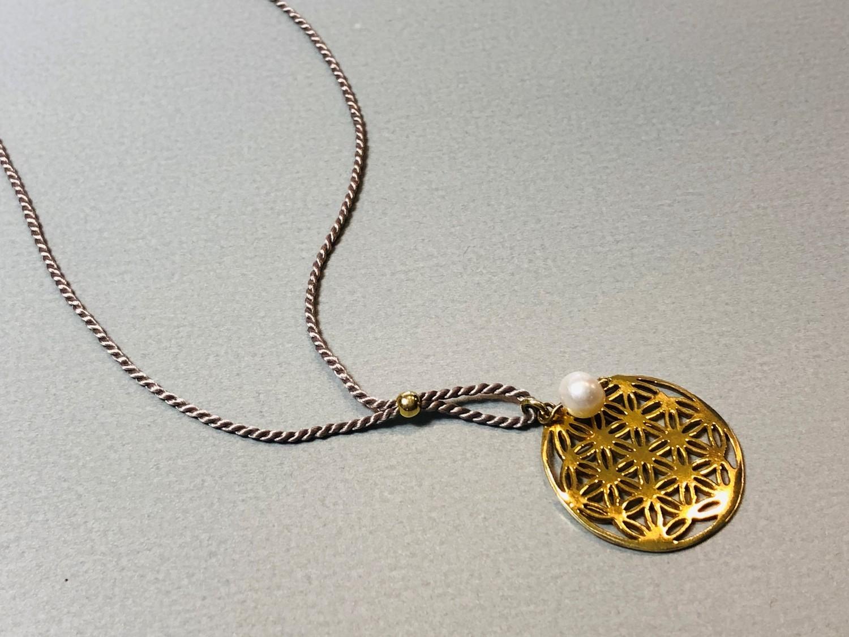 Seidenkette Blume des Lebens Silber vergoldet