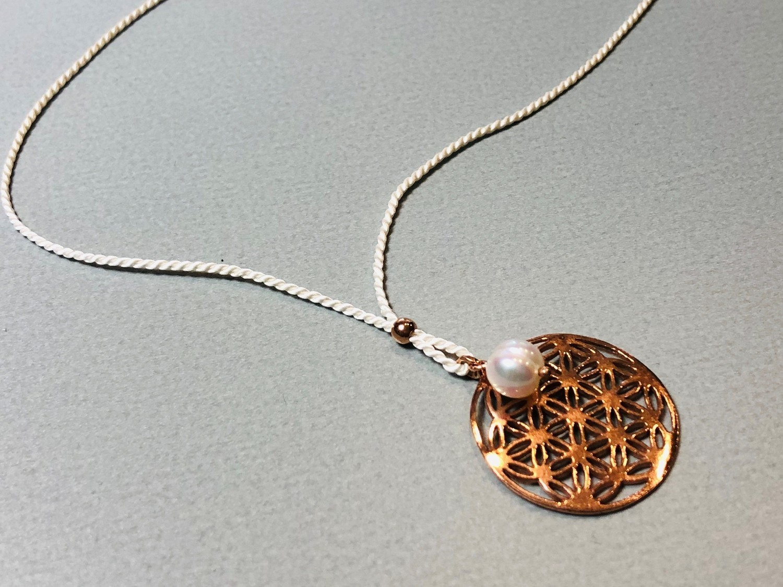 Seidenkette Blume des Lebens Silber rose vergoldet