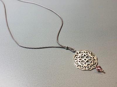 Seidenkette mit Mandala Silber