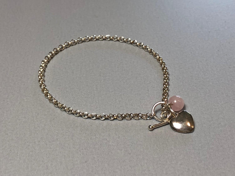 Silberarmband mit Herz und Rosenquarz