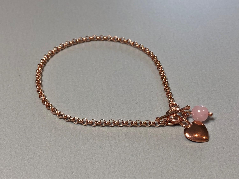 Silberarmband rose vergoldet mit Herz und Rosenquarz