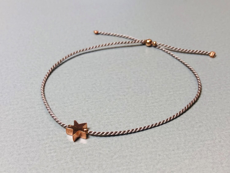 Seidenarmband mit Stern Silber rose vergoldet