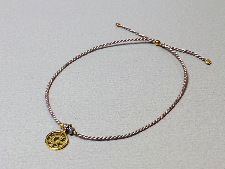 Seidenarmband mit Sonne Silber vergoldet