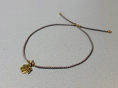 Seidenarmband mit Blume Silber vergoldet